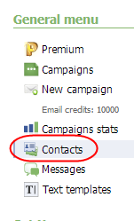 Contacts on General Menu