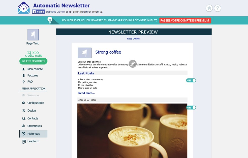 generate leads on Facebook with automatic newsletter