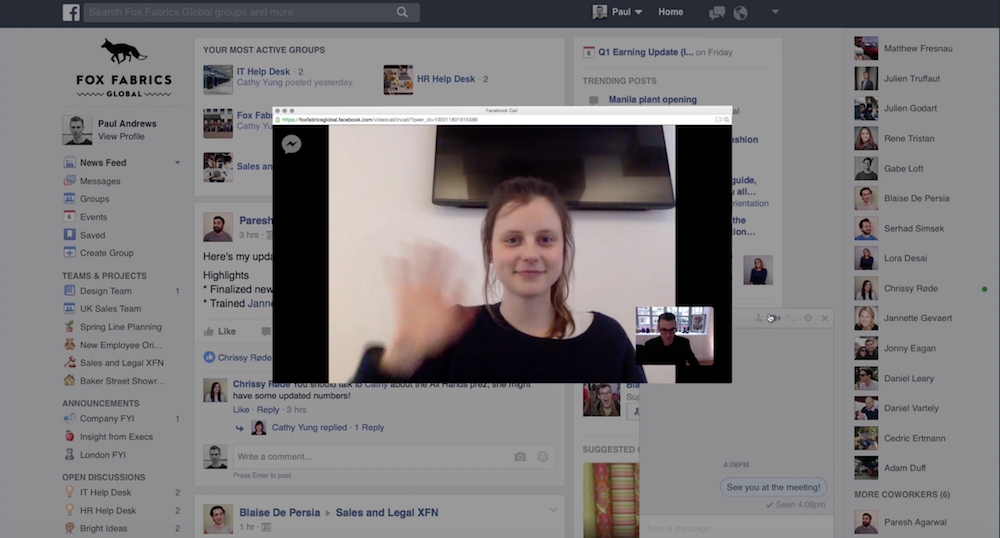 Workplace by Facebook video chatting
